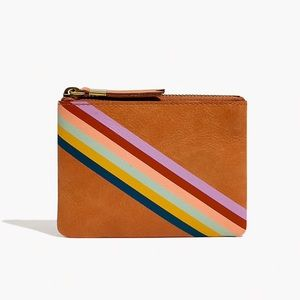 Madewell The Leather Pouch Wallet: Rainbow Striped
